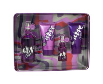 Curve Crush by Liz Claiborne Gift Set -- 3.4 oz Eau De Toilette Spray + .5 oz Mini EDT Spray + 2.5 oz Body Lotion + 2.5 oz Shower Gel for Women