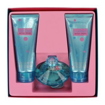 Curious by Britney Spears Gift Set -- 3.4 oz Eau De Parfum Spray + 6.7 oz Body Souffle CrFam + 6.8 oz Shower Gel for Women