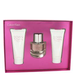 Downtown by Calvin Klein Gift Set -- 3 oz Eau De Parfum Spray + 3.4 oz Body Lotion + 3.4 oz Shower Gel for Women