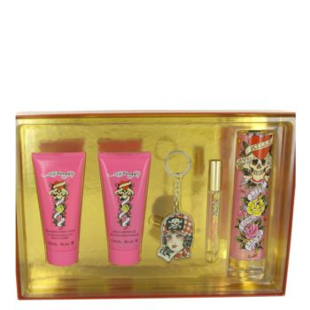 Ed Hardy by Christian Audigier Gift Set -- 3.4 oz Eau De Parfum Spray + 3 oz Shower Gel + 3 oz Body Lotion +.34 oz Mini EDP  Roller Ball + Ed Hardy  Key Chain for Women