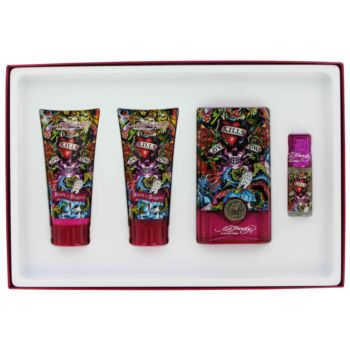 Ed Hardy Hearts & Daggers by Ed Hardy Gift Set -- 3.4 oz Eau De Parfum Spray + 3 oz Body Lotion + 3 oz Shower Gel + .25 oz Mini EDP for Women