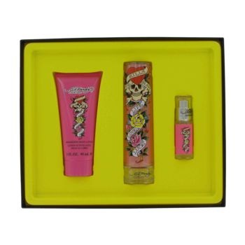 Ed Hardy by Christian Audigier Gift Set -- 1.7oz Eau De Parfum Spray + 3.4 oz Body Lotion + .25 oz Mini EDP for Women