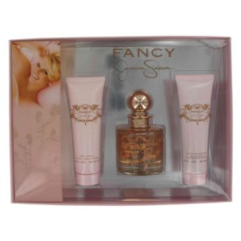 Fancy by Jessica Simpson Gift Set -- 3.4 oz Eau De Parfum Spray + 3.4 oz Body Lotion + 3.4 oz Bath & Shower Gel for Women