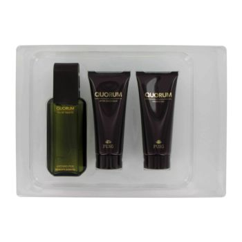 QUORUM by Antonio Puig Gift Set -- 3.4 oz Eau De Toilette Spray + 3.4 oz After Shave Balm + 3.4 oz Shower Gel for Men