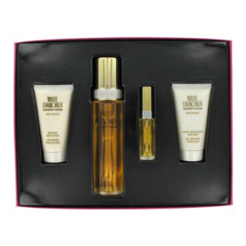 WHITE DIAMONDS by Elizabeth Taylor Gift Set -- 3.4 oz Eau De Toilette Spray + 1.7 oz Body Wash + 1.7 oz Body Lotion +  .33 oz Mini EDT Spray for Women