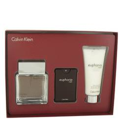 Euphoria by Calvin Klein Gift Set -- 3.4 oz Eau De Toilette Spray + .67 oz Eau De Toilette Spray + 3.4 oz After Shave Balm for Men