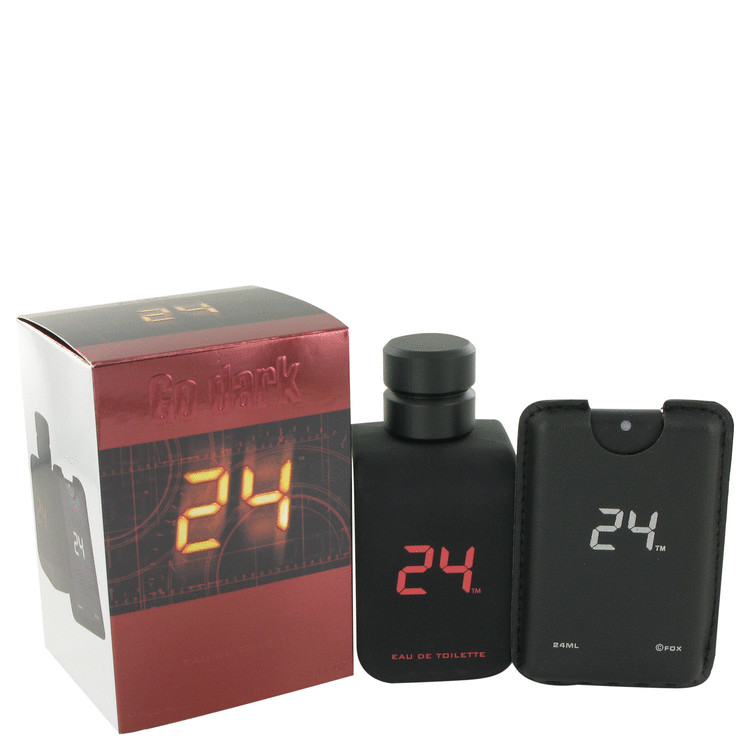 24 Go Dark The Fragrance by ScentStory Eau De Toilette Spray + .8 oz Mini Pocket Spray 3.4 oz for Men