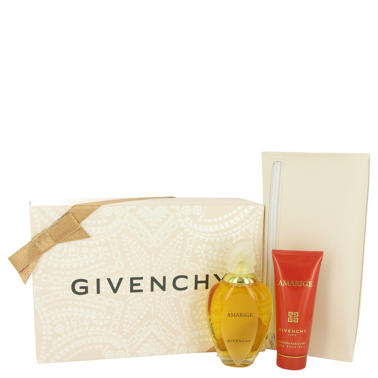 Amarige by Givenchy 3.3 oz Eau De Toilette Spray + 2.5 oz Silk Body Lotion + Pouch for Women