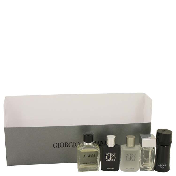 Armani by Giorgio Armani Travel Set Includes Armani Code, Emporio Armani Diamonds, Acqua Di Gio, Armani and Acqua Di Gio Profumo for Men