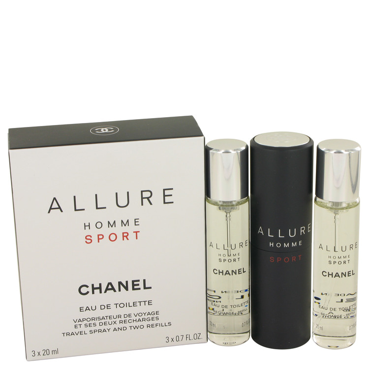 Allure Homme Sport by Chanel Mini EDT Spray + 2 Refills 3 x .7 oz for Men