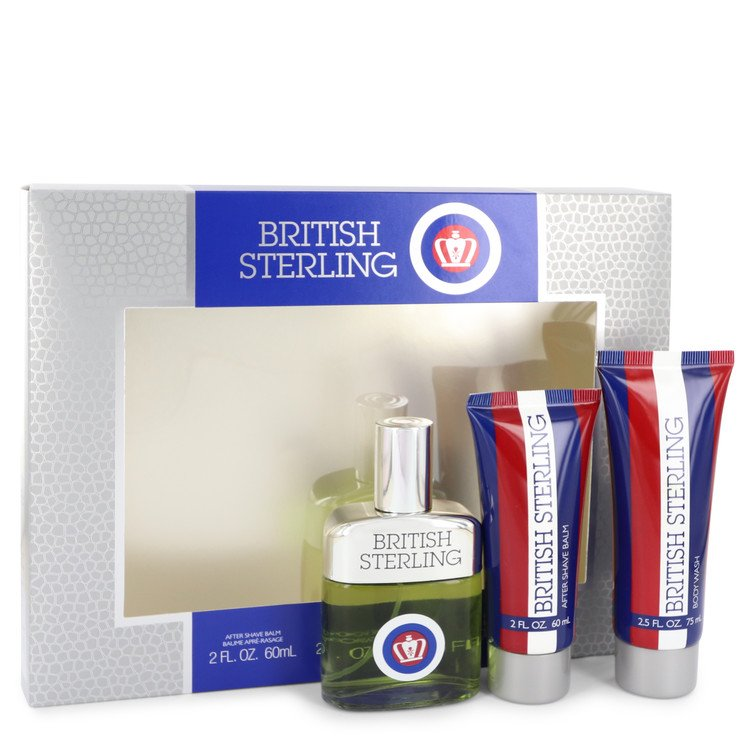 British Sterling by Dana 2.5 oz Cologne Spray + 2.5 oz Body Wash + 2 oz After Shave Balm for Men