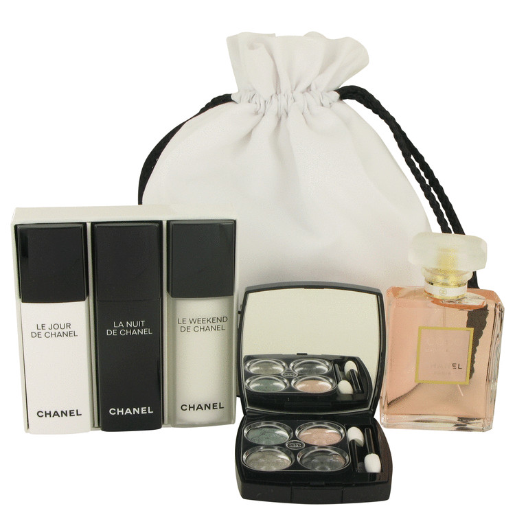 COCO MADEMOISELLE by Chanel Gift Set -- 1.7 oz Eau De Parfum Spray + Make Up Kit + Three 1/2 oz Recharge ( Le Jour, La Nuit + Le Weekend) in Chanel Pouch for Women