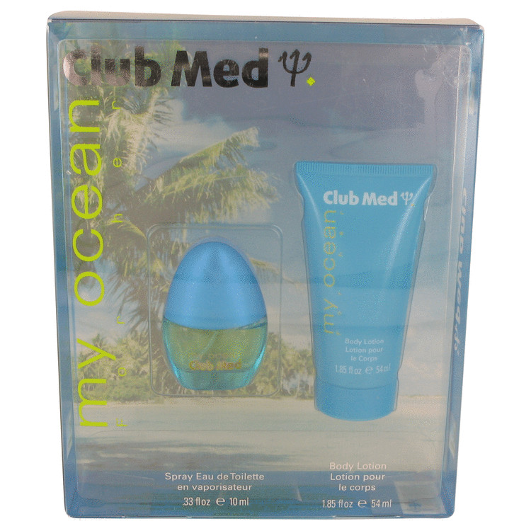 Club Med My Ocean by Coty Gift Set -- .33 oz Mini EDT Spray + 1.85 oz Body Lotion for Women
