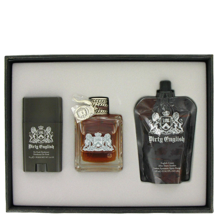 Dirty English by Juicy Couture 3.4 oz Eau De Toilette Spray + 4.2 oz After Shave Soother + 2.6 oz Deodorant Stick for Men