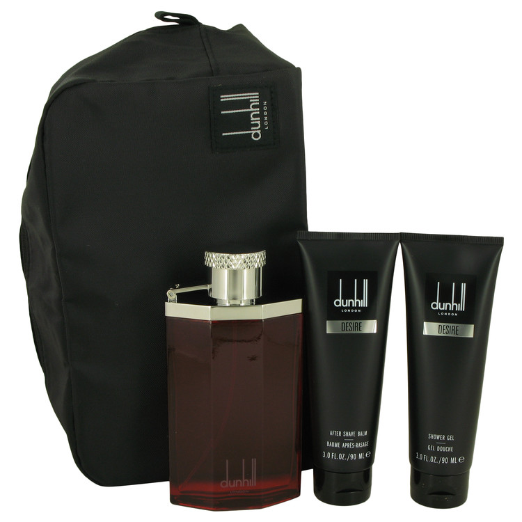 Desire by Alfred Dunhill 3.4 oz Eau De Toilette Spray + 3 oz Shower Gel + 3 oz After Shave Balm + Bag for Men