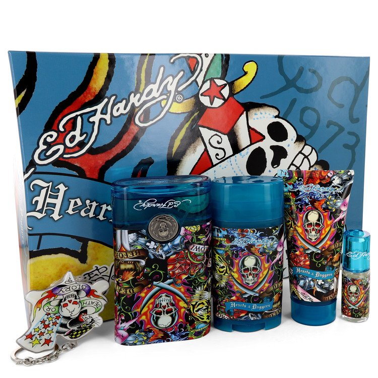 Ed Hardy Hearts & Daggers by Christian Audigier 3.4 oz Eau De Toilette Spray + 3 oz Shower Gel + 2.75 oz Deodorant Stick + .25 oz Mini EDT Spray + Free Key Chain for Men
