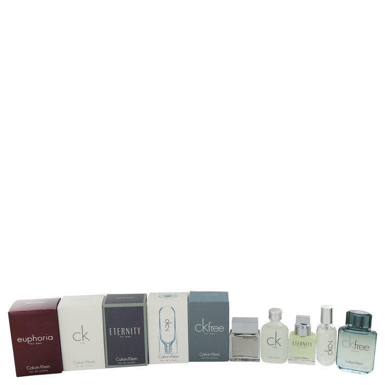 Euphoria by Calvin Klein Deluxe Travel Mini Set Includes Euphoria, CK One, Eternity, Ck 2 and CK Free for Men