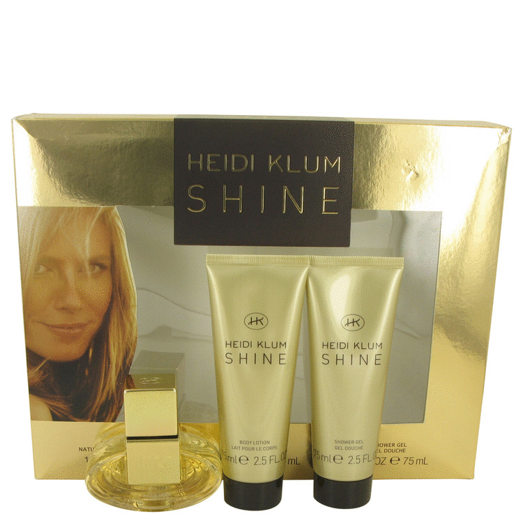 Shine by Heidi Klum Gift Set -- 1 oz Eau De Toilette Spray + 2.5 oz Body Lotion + 2.5 oz Shower Gel for Women