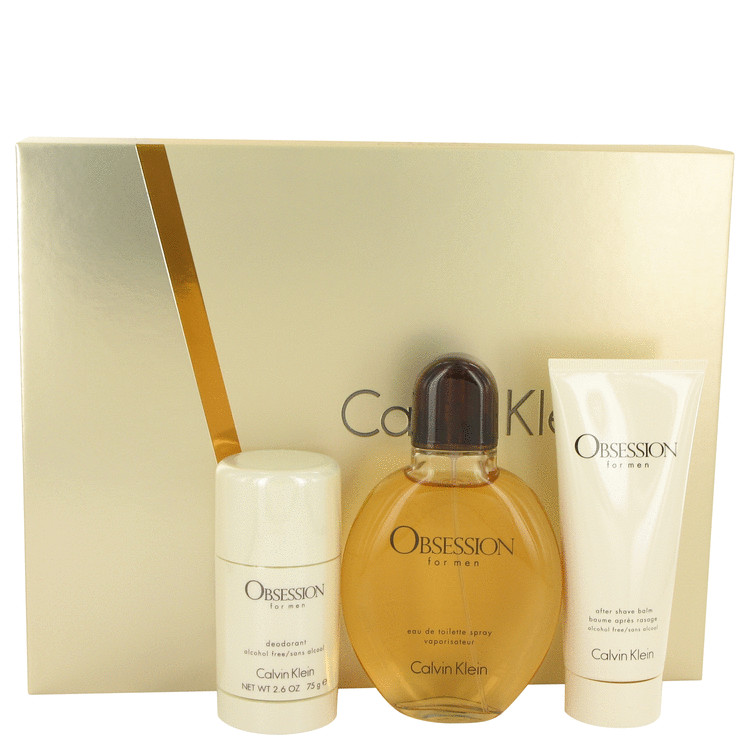 OBSESSION by Calvin Klein Gift Set -- 4 oz Eau De Toilette Spray + 3.4 oz After Shave Balm + 2.6 oz Deodorant Stick for Men