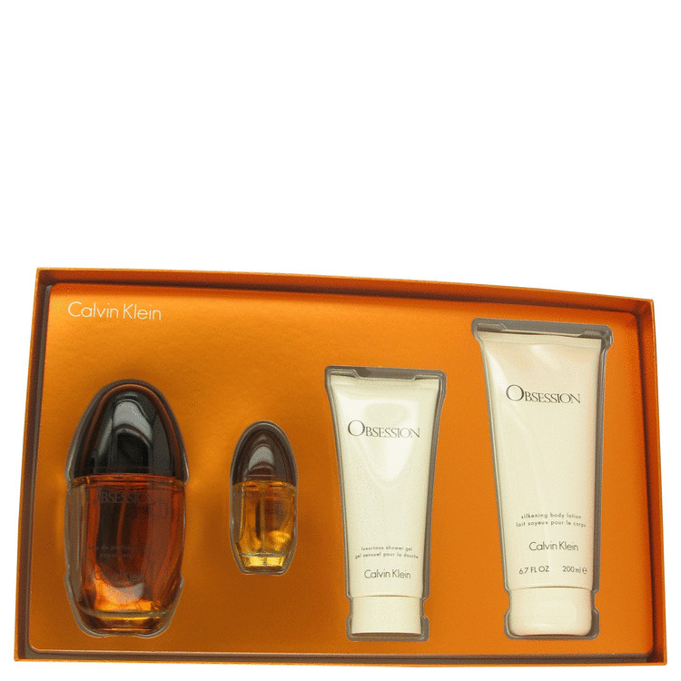 OBSESSION by Calvin Klein Gift Set -- 3.4 oz Eau De Parfum Spray + 6.7 oz Body Lotion + .5 oz Mini EDP Spray + 3.4 oz Shower Gel for Women