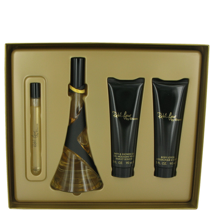 Reb'l Fleur by Rihanna Gift Set -- 3.4 oz Eau De Parfum Spray + 3 oz Body Lotion + 3 oz Shower Gel + .34 oz Mini EDP Spray for Women