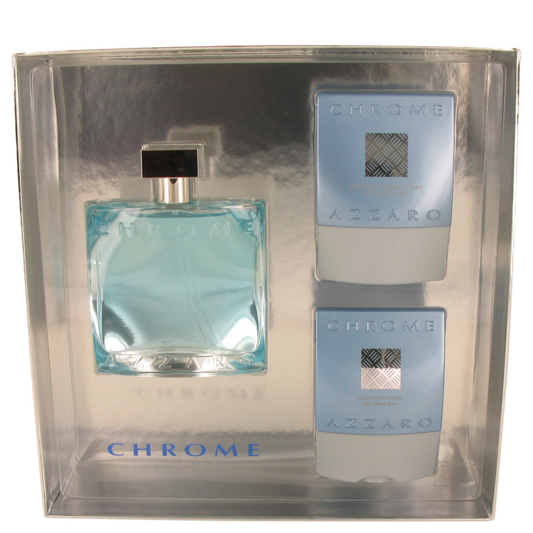 Chrome by Azzaro Gift Set -- 3.4 oz Eau DeToilette Spray + 2.6+ oz After Shave Balm + 2.6 oz All over Shampoo for Men