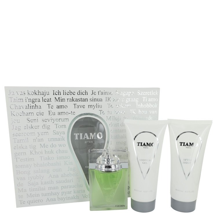Tiamo by Parfum Blaze 3.4 oz Eau De Parfum Spray + 6.8 oz After Shave + 6.8 oz Shower Gel for Men