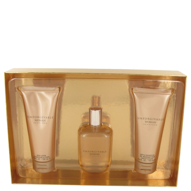 Unforgivable by Sean John Gift Set -- 4.2 oz Eau De Parfum Spray + 3.4 oz Body Lotion + 3.4 oz Shower Gel for Women
