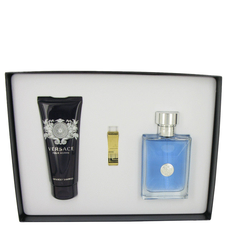 Versace Pour Homme by Versace Gift Set -- 3.4 oz Eau De Toilette Spray + 3.4 Hair & Body Shampoo + Gold Versace Money Clip for Men