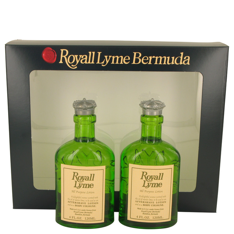 ROYALL LYME by Royall Fragrances Gift Set -- Two 4 oz All Purpose Lotion / Cologne Splash includes 2 Spray pumps for Men