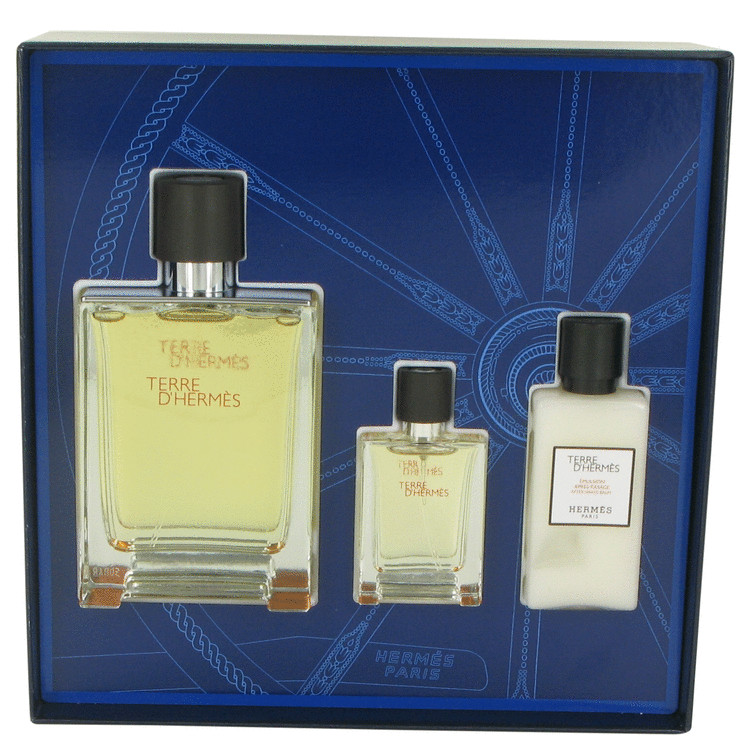 Terre D'Hermes by Hermes Gift Set -- 3.3 oz Eau De Toilette Spray + .42 oz Mini EDT Spray + 1.35 oz After Shave Balm for Men